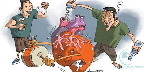 Uống rượu bia nhiều làm tổn thương tim mạch và huyết áp